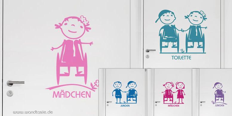 Hübsche lustige Symbole Jungen und Mädchen im Rollstuhl als Türschild für barrierefreie Kinder Toiletten