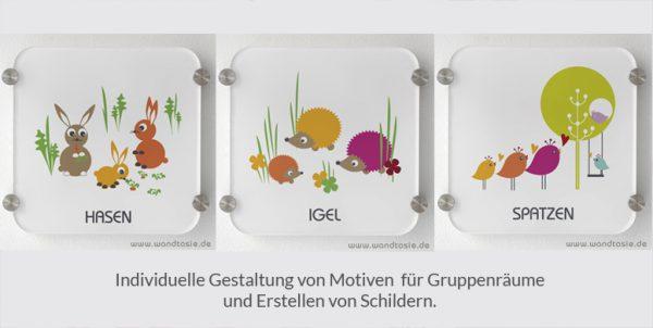 Gruppenraum Schilder mit eigenen Motiven und Design von www.wandtasie.de