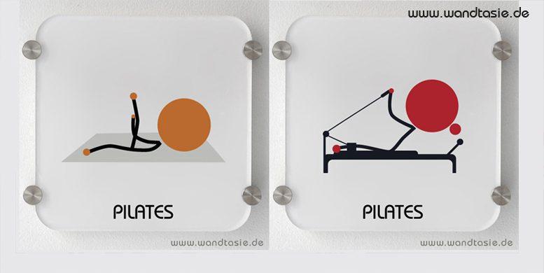 Schilder mit symbolen und Beschriftung für Pilates Mattentraining und Pilates Training am Gerät