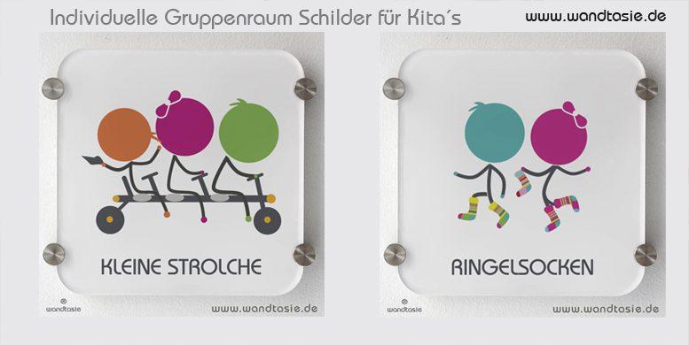 Individuelle Schilder für Gruppenräume von Kindergarten mit eigenen Symbolen
